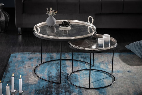 Table d'appoint Elements Oriental set de 2 argent