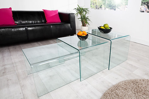 Set de 3 tables gigognes design Fantome en verre transparent
