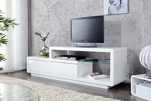 Meuble TV design Phase laqué blanc à Led bleu 180 cm