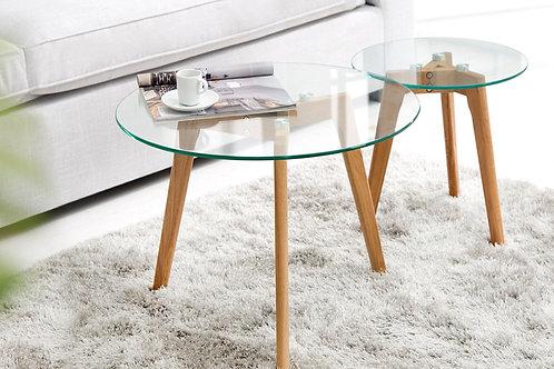 Lot de 2 tables d'appoint design Scandinavia plateau verre 50 cm