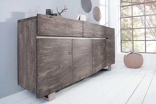 Buffet design Mammut bois massif acacia coloré gris 4 portes 2 tiroirs 170 cm