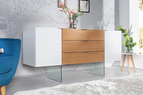 Buffet design Onyx blanc laqué/bois chêne et verre 160 cm