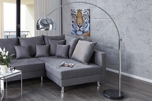 Lampadaire arc design Big Bow acier/marbre argent 210 cm