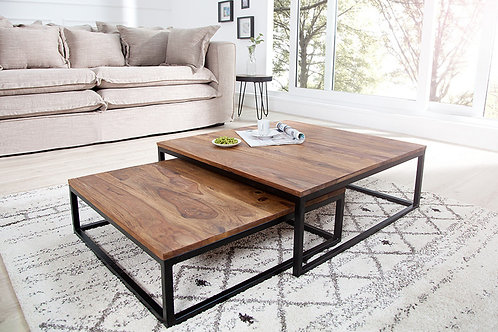Set de 2 tables basses gigognes design New Elements en bois massif
