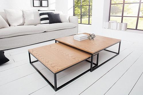 Set de 2 tables basses gigognes design New Elements noir/chêne