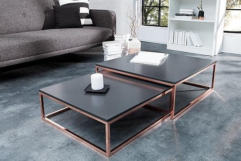 Set de 2 tables basses gigognes design Elements cuivre/anthracite