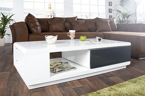 Table basse design Fortuna blanc/anthracite laqué