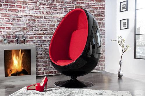 Fauteuil Oeuf design Space noir/rouge