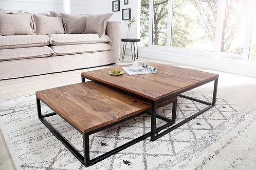 Table Basse, set de 2 tables gigognes Sheesham