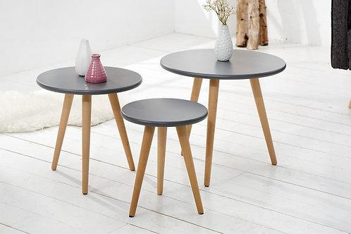 Set de 3 tables gigognes design Scandinavia en bois 50 cm