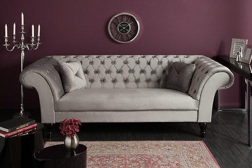 Canapé design Euphoria 3 places velours gris 230 cm