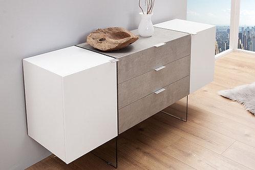 Buffet design Onyx blanc mat/béton et verre 160 cm