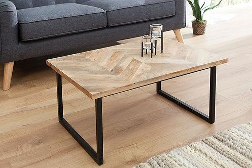 Table basse design Elements métal/bois massif manguier 70 cm