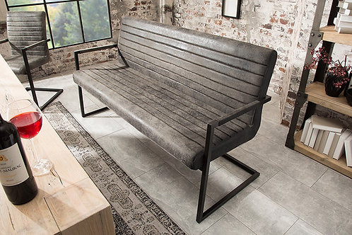 Banc design Loft avec accoudoirs vintage gris 160 cm