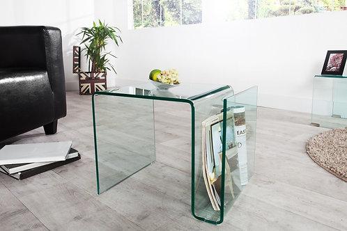 Table d'appoint design Fantome en verre avec rangement 50 cm