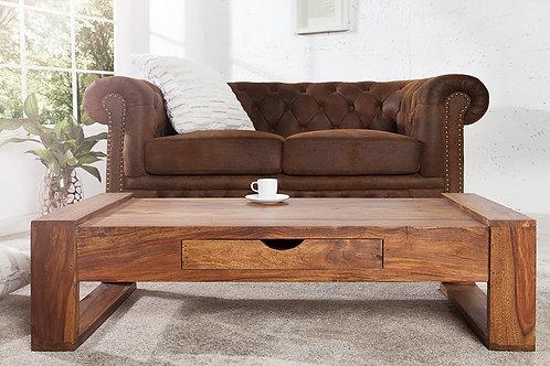 Table basse design Markant bois de massif Sheesham avec 1 tiroir 100 cm