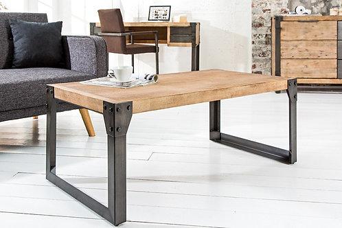 Table basse design Factory bois massif blanc acacia/métal 110 cm