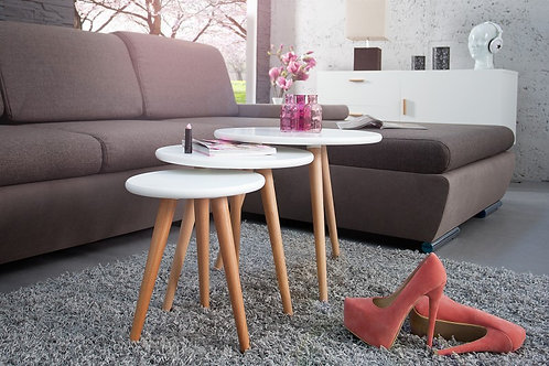 Set de 3 tables d'appoint gigognes design Scandinavia bois hêtre 30/40/50 cm