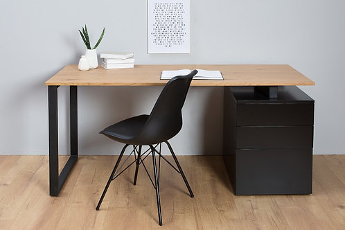 Bureau design Compact 160cm chêne noir