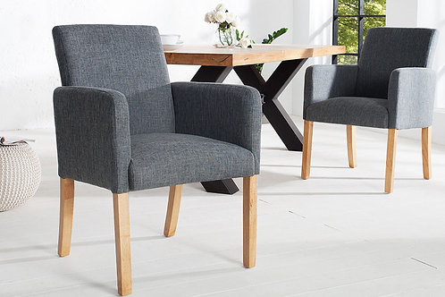 Chaise design Valentino bois massif chêne/tissu gris 90 cm
