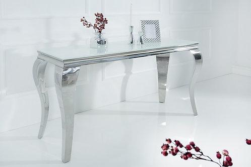 Console design Barock en acier inox/verre blanc 140 cm