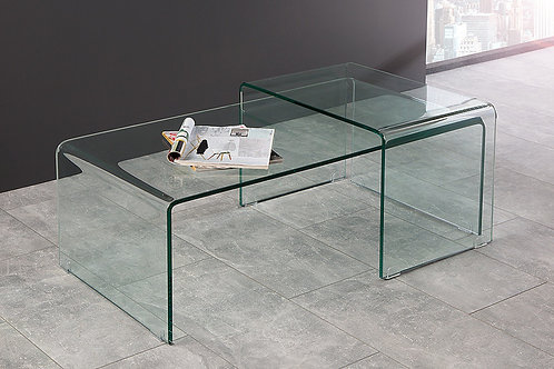 Table basse double design Fantome avec en verre transparent 100 cm