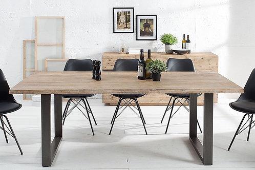 Table à manger design Wotan métal/bois acacia 200 cm