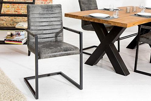 Chaise design Loft avec accoudoirs acier inox gris