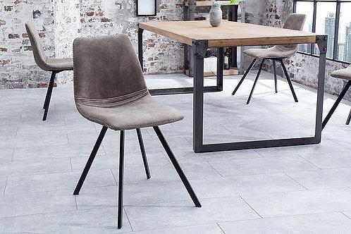 Chaise design Amsterdam métal/velours côtelé gris 83 cm
