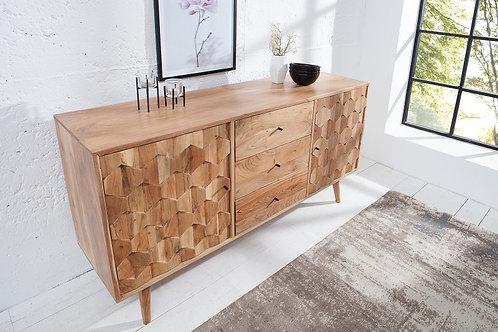 Buffet bas design Mystic en bois massif  2 portes 3 tiroirs effet 3D 145 cm