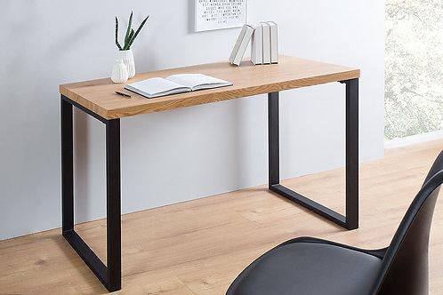 Bureau design Oak Desk chêne vintage/métal noir 128 cm