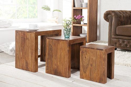 Set de 3 tables gigognes design Madeira en bois massif