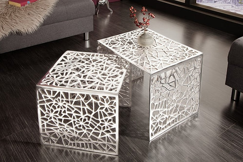 Table basse Abstract set de 2 argent