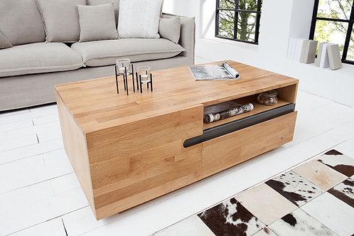 Table basse design Wotan bois massif chêne huilé 115 cm