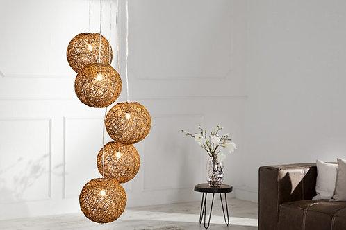 Lampe à suspension design Cocooning 5 perles brun naturel