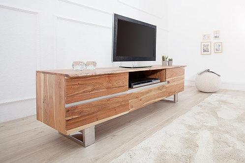 Meuble TV design Mammut en bois massif acacia 160 cm