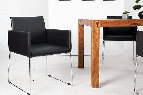 Chaise design Livorno métal/simili noir-anthracite 80 cm