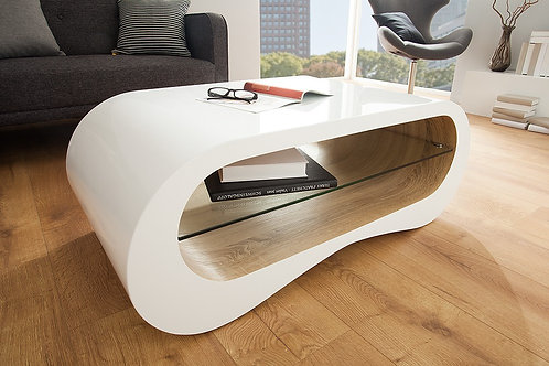 Table basse design Manhattan blanc brillant/chêne 110 cm