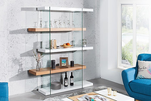 Étagère design Onyx verre/chêne 4 niveaux 180 cm