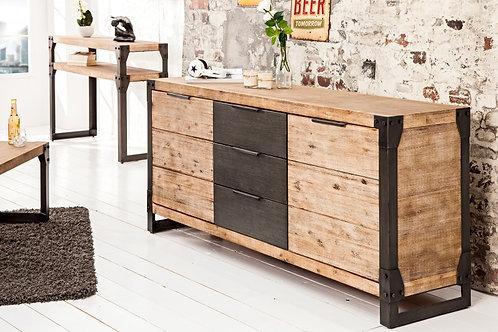 Buffet design Factory bois d'acacia blanc cérusé 180 cm