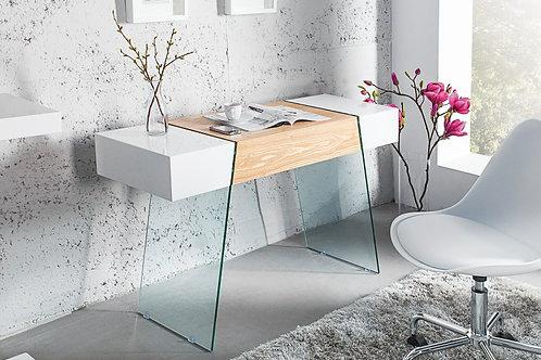 Console design Onyx blanc brillant / chene et verre 120 cm