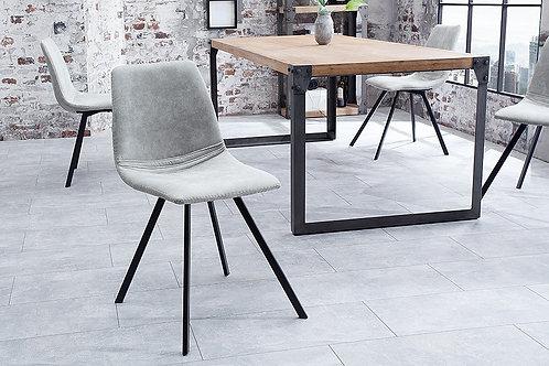 Chaise design Amsterdam métal/velours côtelé gris pierre 83 cm