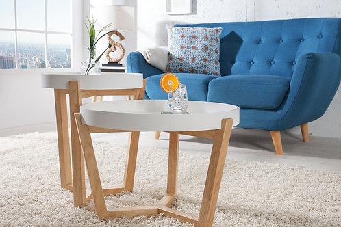 Set de 2 tables d'appoint design Scandinavia plateau bois chêne/blanc 57 cm