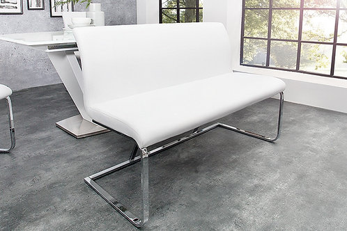 Banc design Hampton en tissu blanc 130cm