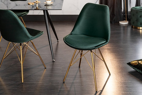 Chaise design Scandinavia retro Or/Vert foncé