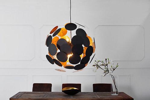 Lampe à suspension design Infinity noir/doré métal laqué 70 cm