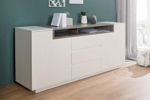 Buffet design Loft blanc/beton 2 portes 3 tiroirs 180cm