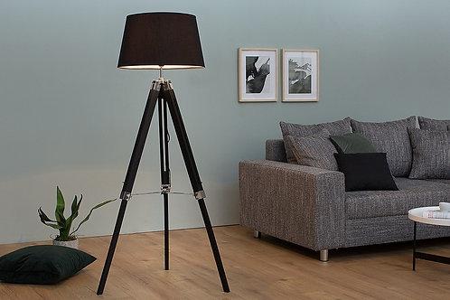 Lampe trépied réglable design Sylt bois massif noir