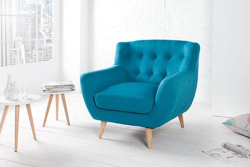 Fauteuil design Scandinavia capitonné turquoise