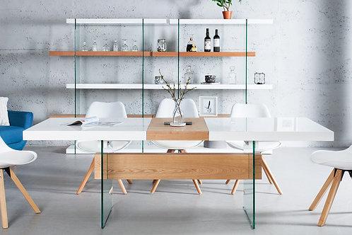 Table à manger extensible design Onyx blanc bois chêne et verre 160-200 cm